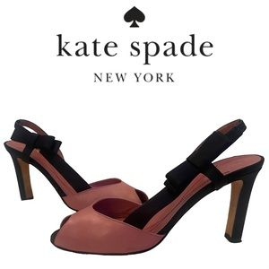 KATE SPADE pink leather and black satin heels with bow